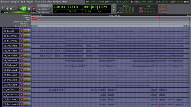 Ardour 3 - 23 Tracks - FullScreen