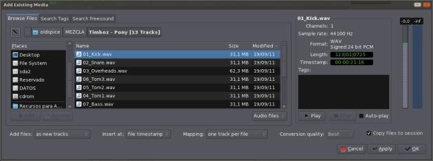 Ardour 3 - 4 - Import Tracks