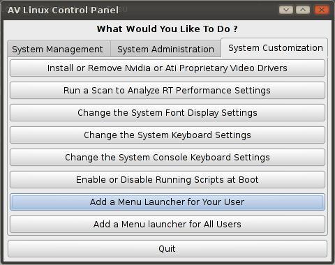 AV Linux Control Panel