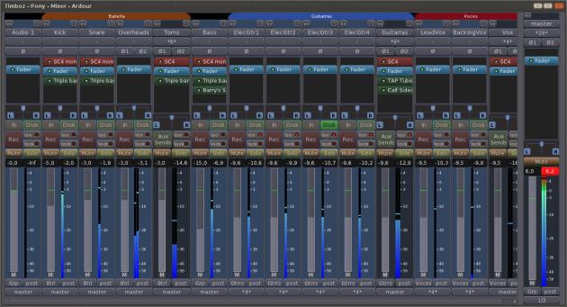 Ardour 3 Mixer 13 Tracks