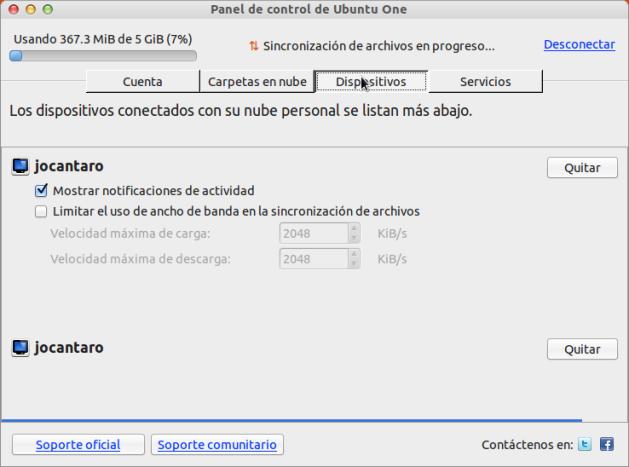 Dispositivos Ubuntu One