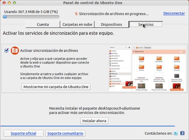 Servicios Ubuntu One