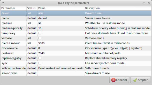 jack engine parameters