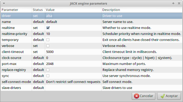 jack engine parameters