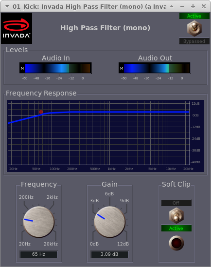 Invada Plugins - 4 - High Pass Filter