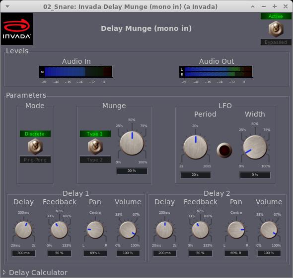 Invada Plugins - 9 - Delay Munge