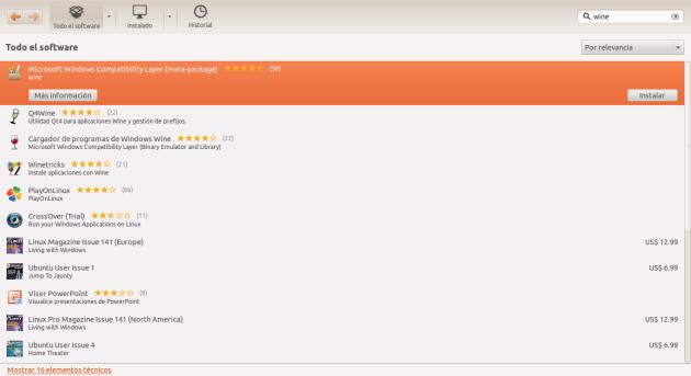 Wine Ubuntu Software Center